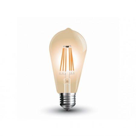 Jantarová LED filament žárovka E27 ST64 4W