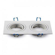 Dvojitý bílý hliníkový rámeček na žárovky čtverec