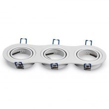Trojitý kulatý bílý hliníkový rámeček na žárovky