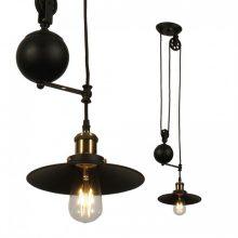 Černá závěsná lampa s nastavitelnou výškou