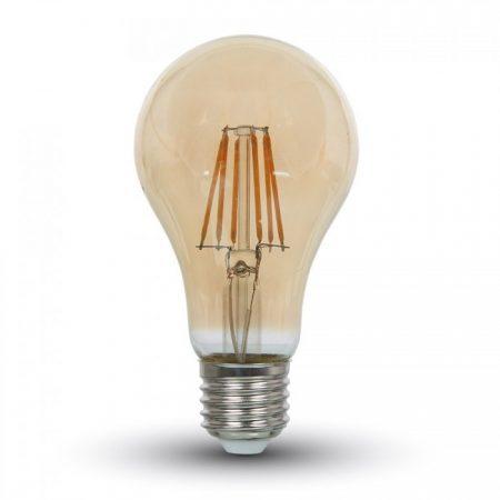 Profesionální jantárová LED filament žárovka E27 A60 6W se SAMSUNG čipy