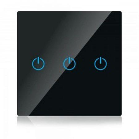 Trojitý černý smart Wi-Fi dotykový vypínač