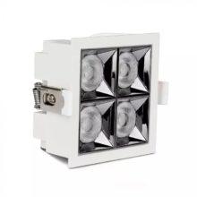 Zapuštěné hranaté bílé LED svítidlo 16W 12° SAMSUNG čipy CRI90