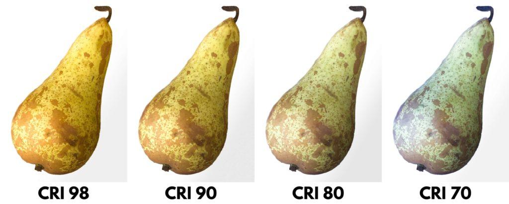 Různé hladiny CRI na osvětlení hrušky